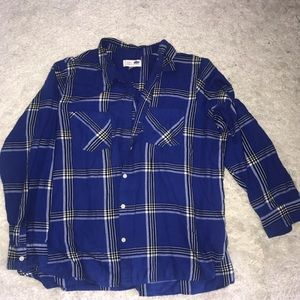 Old Navy blue and white flannel